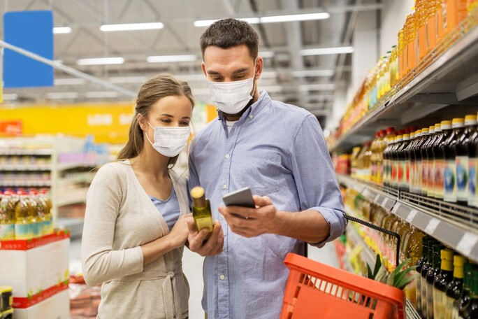 preview full couple supermarket with facemask shutterstock 1723575208 Medium